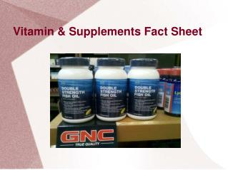 Vitamin & Supplements Facts Sheet