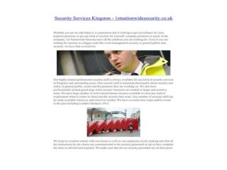 Security Services Kingston - 1stnationwidesecurity.co.uk