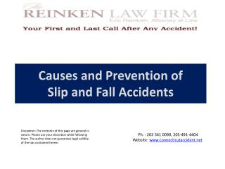 Causes and Prevention of  Slip and Fall Accidents