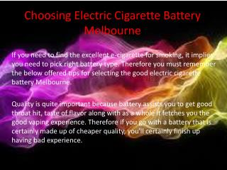 Choosing Electric Cigarette Battery Melbourne