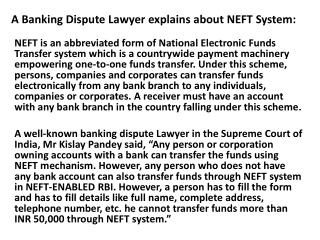 Mr.Kislay Pandey=A Banking Dispute Advocate's Take on Banks'