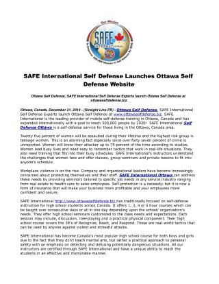 SAFE International Self Defense Launches Ottawa Self Defense
