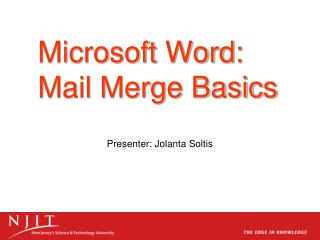 Microsoft Word: Mail Merge Basics