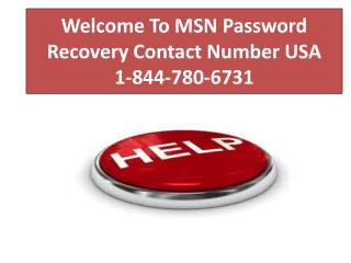 MSN Password Recovery Contact Number USA 1-844-780-6731