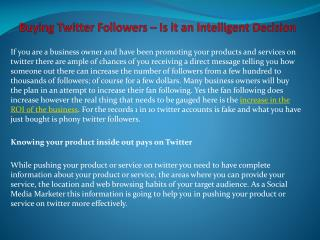 Buying Twitter Followers – Is it an Intelligent Decision