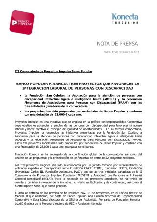 �ngel Ron financian tres proyectos Impulso