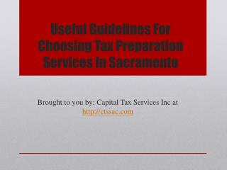 Useful Guidelines For Choosing Tax Preparation Services In S