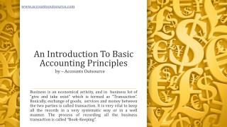 An Introduction To Basic Accounting Outsourcing Principles