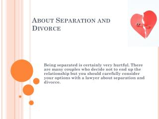 About Separation and Divorce