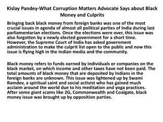Kislay Pandey- Corruption Matters Advocate