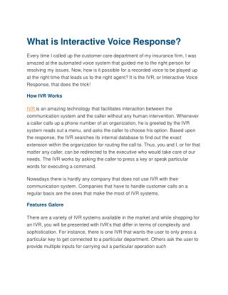 What is Interactive Voice Response?