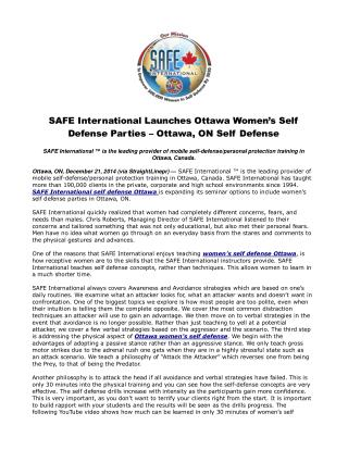 SAFE International Launches Ottawa Women's Self Defense Part