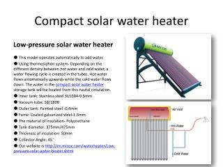 Compact solar water heater - micoe