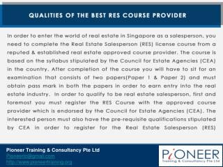 Qualities of the Best RES Course Provider