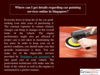 Where can I get details regarding car painting services onli