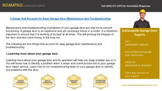Indianapolis Garage Door Experts