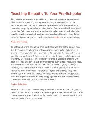 Teaching Empathy To Your Pre-Schooler