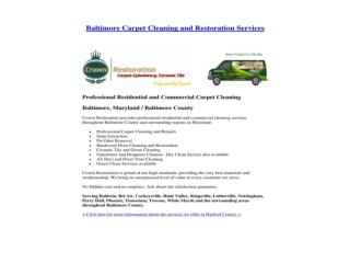 Baltimore Carpet Cleaning and Restoration Services