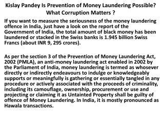Kislay pandey-Corruption Matters Advocate