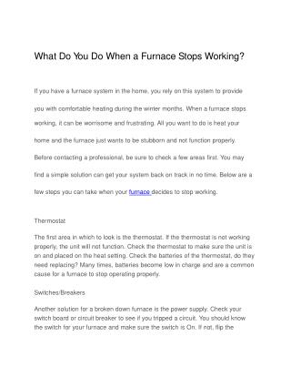 What Do You Do When a Furnace Stops Working?