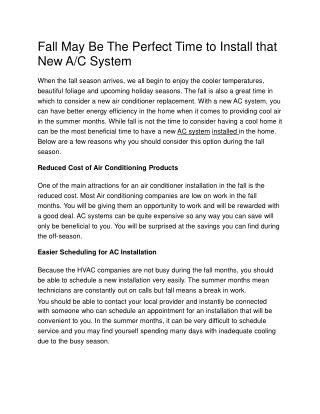 Fall May Be The Perfect Time to Install that New A/C System