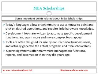 Some brief detal about mba scholarships