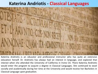 Katerina Andriotis - Classical Languages