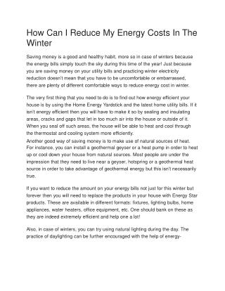 How Can I Reduce My Energy Costs In The Winter