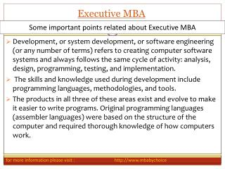 Points related about executive mba