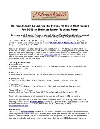 Holman Ranch Launches its Inaugural Sip n Chat Series For 20