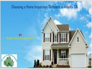 Choosing a Home Inspection Company in Atlanta GA