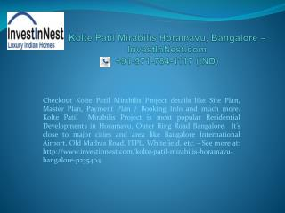 Kolte Patil Mirabilis Horamavu , Bangalore � InvestInNest.co