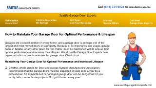 Garage Door Opener Repair Experts In Seattle