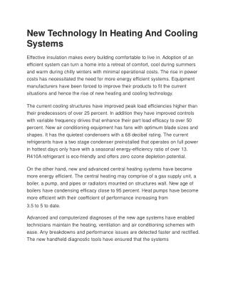 New Technology In Heating And Cooling Systems