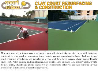 Tennis Court Construction and Resurfacing in Florida