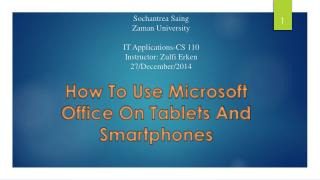 Slides: How to Microsoft office on Tablets and Smartphones