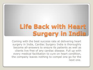 Life Back with Heart Surgery in India