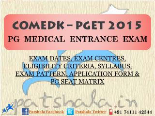 COMED-K PGET 2015 Entrance Exam Dates|Private Medical Colleg