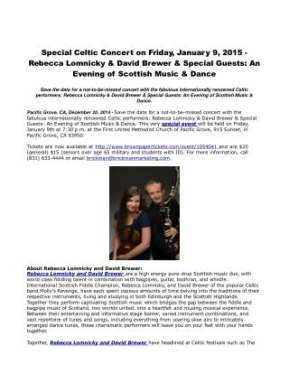 Special Celtic Concert on Friday, January 9, 2015
