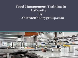 Food Management Training in Lafayette