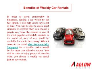 Benefits of Weekly Car Rentals