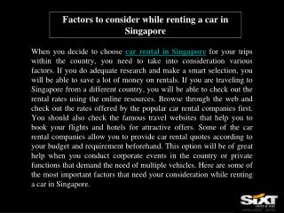 Factors to consider while renting a car in Singapore