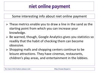 Know more detail about niet online payment