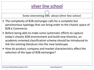 Think about your own silver line school