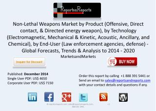 Non-Lethal Weapons Market worth $7,198.24 million by 2020