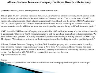 Alliance National Insurance Company Continues Growth with Ar