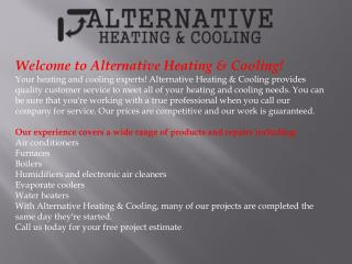 Cooling & Heating Services, Water Heaters, AC Replacement an