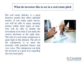 What do investors like to see in a real estate pitch