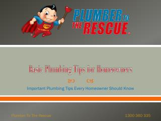 Basic Plumbing Tips for Homeowners
