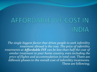 AFFORDABLE IVF COST IN INDIA